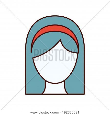 color sections silhouette faceless woman with straight medium hair and bow lace vector illustration