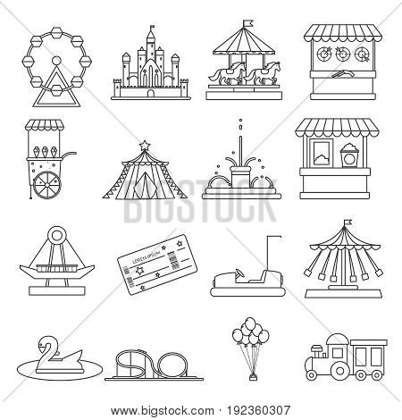 Amusement park lineart elements isolated background concept design vector illustration