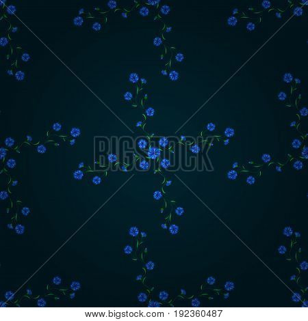 Spring floral background with blue flowers. Vector cute pattern in small flower. Motley illustration. Small colorful flowers. The elegant the template for fashion prints.
