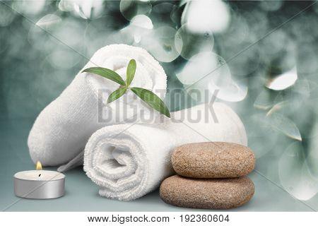 Stones towels basalt background nobody closeup beauty