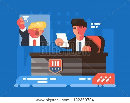 Political TV show. Leading discusses on debate with opponent. Vector illustration
