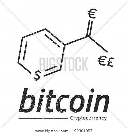 Bitcoin logo like a chemical formula Vitamin PP. Eps10 Vector. White background.
