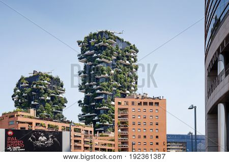 Milan Italy - June 11 2017: The famous Vertical Wood seen from Viale Luigi Sturzo. Sustainable residential building model consisting of two residential towers of 110 and 76 m high built in the center of Milan at the confines of the Isola district.