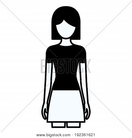 black silhouette thick contour of faceless full body woman with skirt and short hair vector illustration