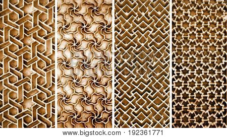 Collage of different intricate patterns on the wall exteriors