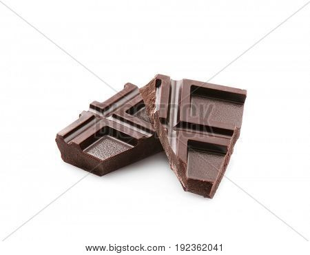 Broken chocolate pieces, isolated on white