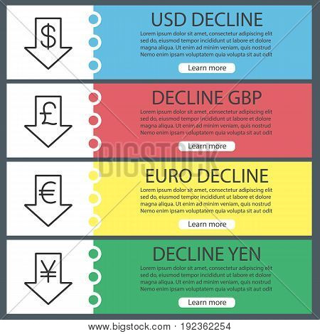 Currencies rate fall web banner templates set. Decline us dollar, euro, gbp, yen. Website color menu items with linear icons. Vector headers design concepts