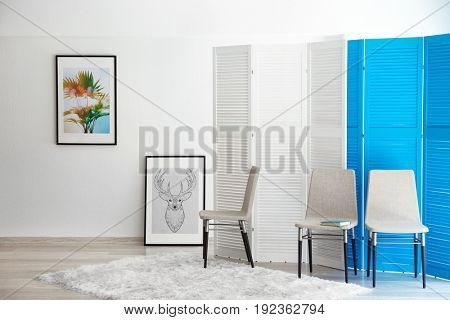 Interior design of living room in light colours