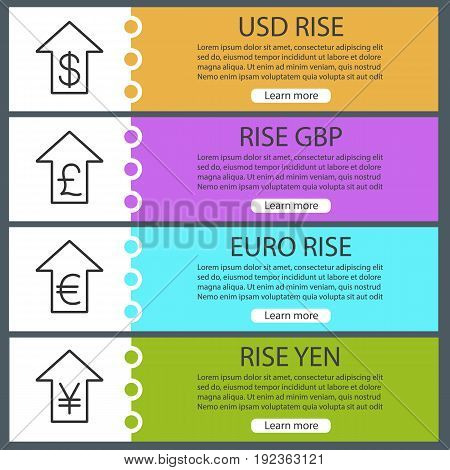 Currencies rate rise web banner templates set. US dollar, euro, gbp, yen with up arrows. Website color menu items with linear icons. Vector headers design concepts
