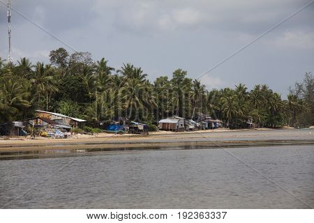 PHU QUOC, VIETNAM - March 20, 2017: Small fishing houses on the shore of the island of Phu Quoc, Vietnam