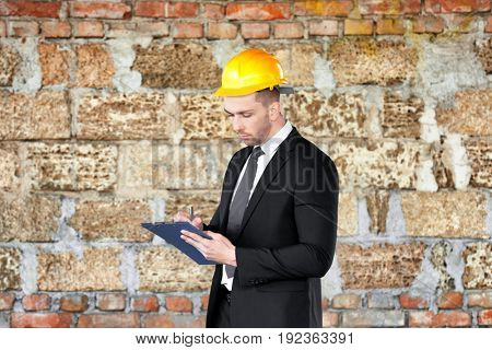 Insurance adjuster in abandoned building