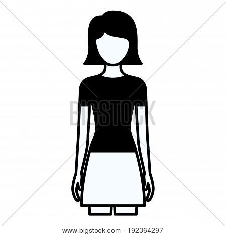 black silhouette thick contour of faceless full body woman with skirt and short straight hairstyle vector illustration