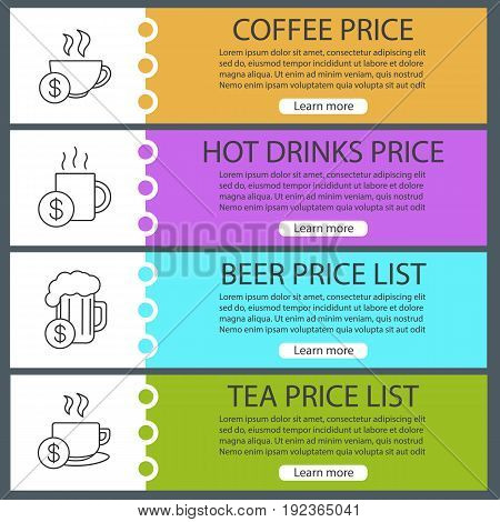 Drinks price lists web banner templates set. Coffee and tea cups, beer mug with dollar signs. Website color menu items with linear icons. Vector headers design concepts