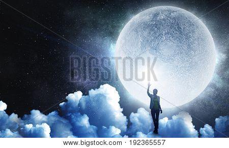 Woman and full moon. Mixed media