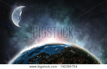 Moon and Earth planet