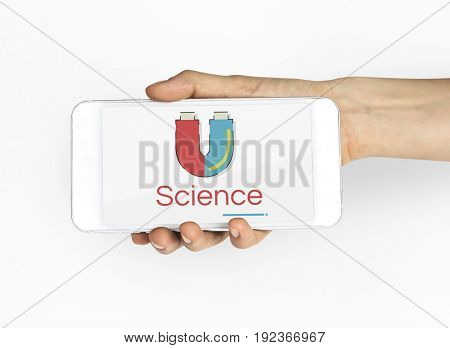 Illustration of horseshoe magnetic field energy on mobile phone