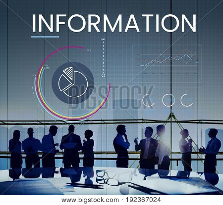 People meeting with Graphic of business graph data analysis