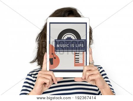 Woman holding digital device covering face network graphic