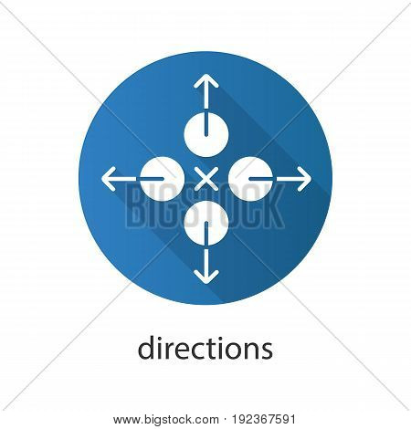 Directions flat design long shadow glyph icon. Abstract metaphor. Vector silhouette illustration