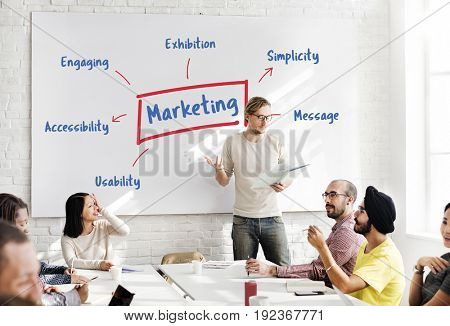 Workers working on whiteboard network graphic overlay