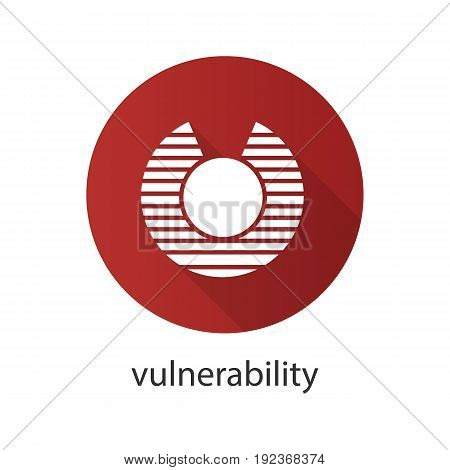 Vulnerability flat design long shadow glyph icon. Abstract metaphor. Vector silhouette illustration