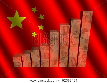 Currency graph on rippled Chinese flag 3d illustration