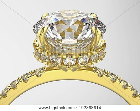 3D illustration isolated zoom macro yellow gold ring with diamonds on a grey background
