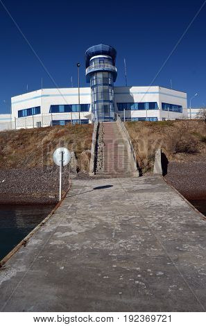 Resort,Balkhash lake, central Kazakhstan.Near Priozersk - former Soviet  anti-ballistic missile testing range Sary Shagan.May 7, 2017.Priozersk.Kazakhstan