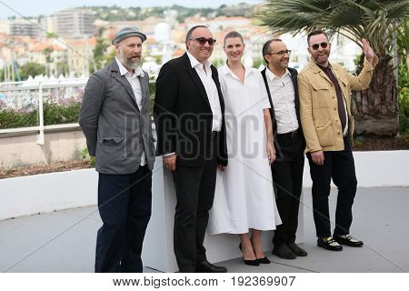 Mikhail Krichman, , Maryana Spivak, Andrey Zvyagintsev and Alexey Rozin attend the 'Loveless (Nelyubov)' photocall during the 70th Festival at Palais des Festivals on May 18, 2017 in Cannes, France.