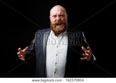 Furious man with tense hands