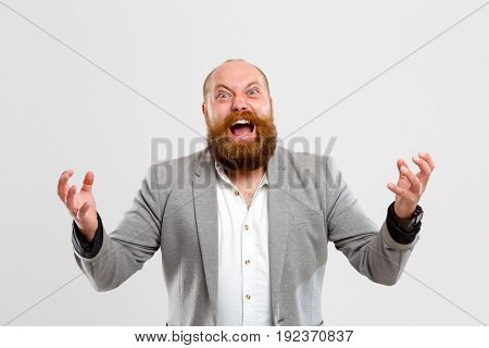 Brutal screaming man with beard