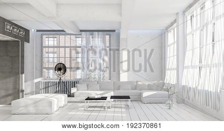 Bright airy cool monochromatic white living room interior with many large windows ottomans, modular lounge suite and painted wooden floorboards. 3d Rendering.