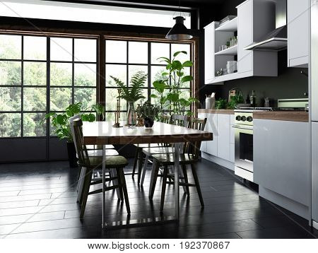 Dining table and chairs in an open plan kitchen with fitted cabinets and appliances in front of large bright windows overlooking a garden and tiled floor. 3d Rendering.