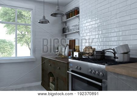 Small compact kitchen interior with stove and cabinets stacked with assorted pots, pans and kitchenware against a white brick wall in front of a bright window. 3d Rendering.