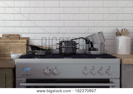 Pots and pans stacked on a stove top against a white brick wall with simple wooden cabinets on either side. 3d Rendering.