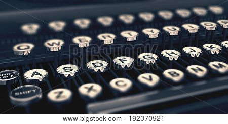 Close up of the round white keys marked with alphabet letters on an old vintage typewriter with selective focus to the second row. 3d Rendering.