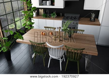Dining table with wooden surface and chairs in modern kitchen viewed from high angle. Wide bright window, black floor and potted indoor plants. 3d Rendering.