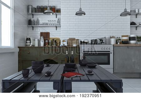 Modern black dining table in an open plan kitchen with simple cabinets and appliances on a white brick wall laden with assorted pans, pans and utensils. 3d Rendering.