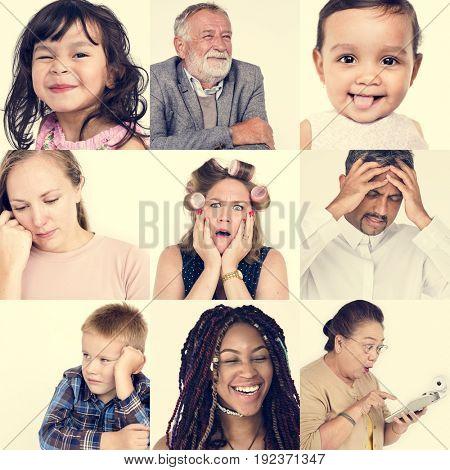 Diversity people set emotional on white background