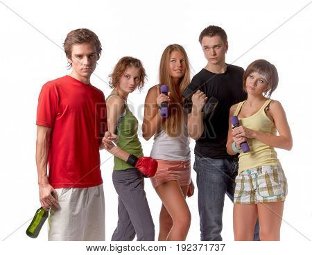 Group of young sports people do not approve the guy with a bottle of beer and a cigarette on a white background.