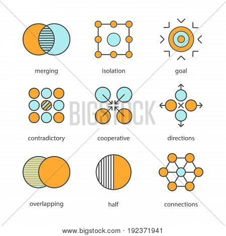 Abstract symbols color icons set. Merging, isolation, goal, contradictory, cooperative, directions, overlapping, half, connections concepts. Isolated vector illustrations