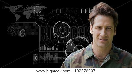 Digital composite of Soldier against black background with interface