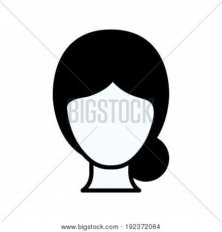 black silhouette thick contour of faceless woman with collected hair vector illustration