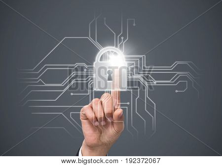 Digital composite of Hand with flare touching white lock graphic against grey background