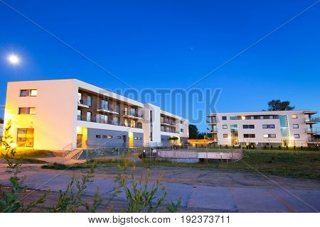 PRUSZCZ GDANSKI, POLAND - JUNE 7, 2017: Architecture of modern residential apartments in Pruszcz Gdanski, Poland. Pruszcz Gdanski is growing industrial town neighbouring to Gdansk.