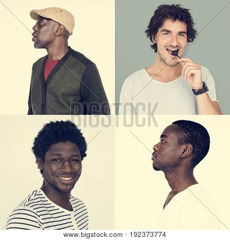 Collection of diversity of people with face expression happy