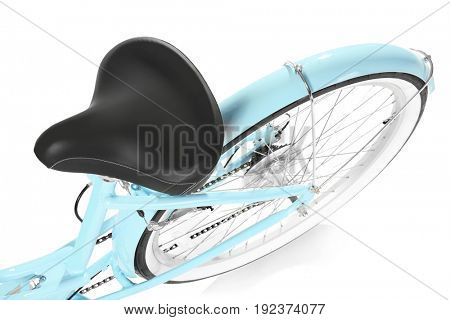 Modern two-wheeled bicycle on white background, closeup