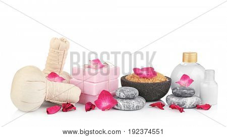 Beautiful spa composition with hydrangea flowers on white background