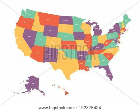 Political map of USA, United States of America. Colorful with white state names labels on white background. Vector illustration.