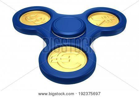 Currency Fidget Spinner 3D Illustration
